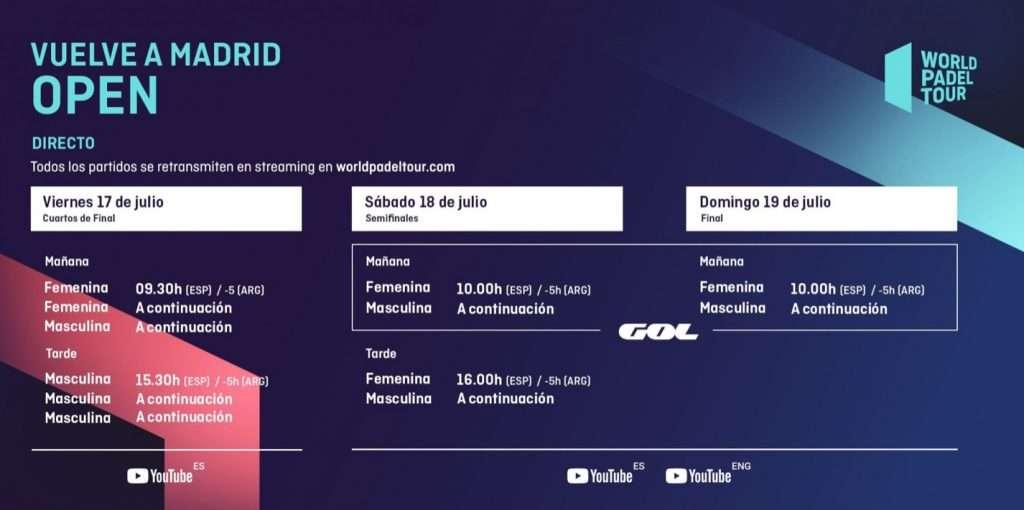 Quarti di finale World Padel Tour in streaming